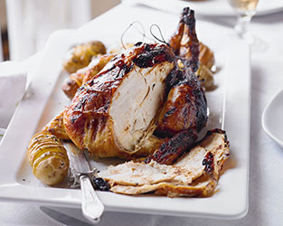Ginger glazed roast chicken with hasselback potatoes
