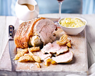 Roast pork with perfect crackling and apple sauce