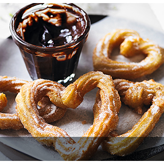 Churros with hot chocolate dip
