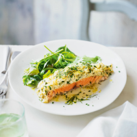 Baked salmon with risotto