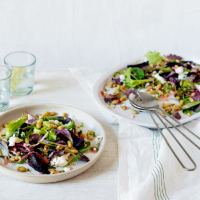 Roasted beet, flageolet and walnut salad with goats' cheese