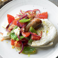 Hot feta salad with sausages