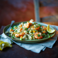 Herby prawn and vegetable pilaf