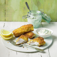 Lemon fish fingers with herby mayo