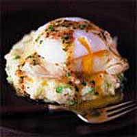 Mustard mash with smoked haddock and poached eggs