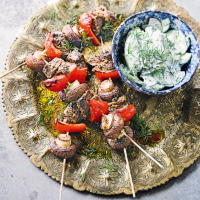 Persian beef kebabs with cucumber salad