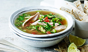 Mexican chicken, lime and tortilla soup