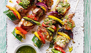 Lamb skewers with mint pesto