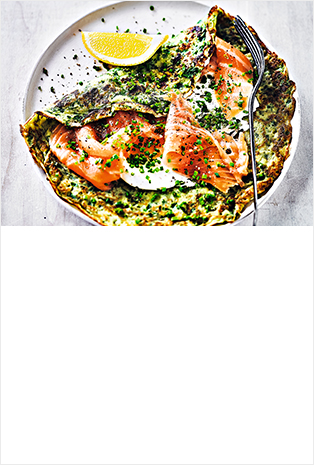 Martha's spinach & herb pancakes with smoked salmon
