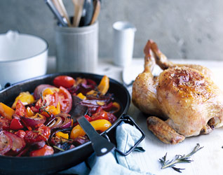 Roast chicken with chorizo, peppers & tomatoes