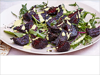 Roast beetroot with ginger-tahini dressing