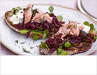 Buttered beetroot, trout and horseradish toasts