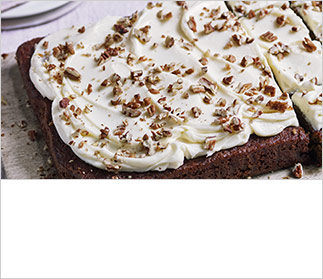 Spiced beetroot traybake with cream cheese frosting and pecans