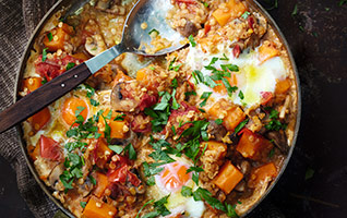 Mushroom & butternut dhal with poached eggs
