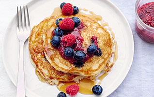 Buttermilk pancakes with raw chia berry jam