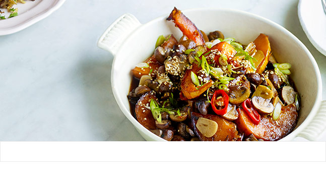 Braised mushrooms and squash with soy and ginger