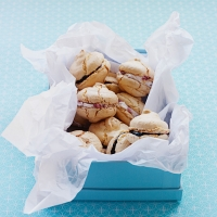 Almond macaroons with summer fruit fillings