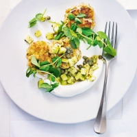 Crab fishcakes with cucumber relish