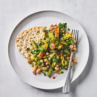 Harissa chickpeas, courgettes, preserved lemon & parsley