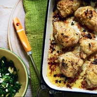 Lemon and oregano roast chicken with spinach