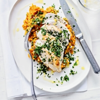 Pan fried chicken with sweet  potato mash & gremolata
