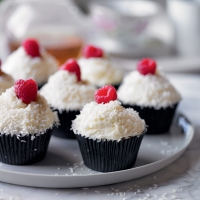 Martha's raspberry and coconut ice cupcakes