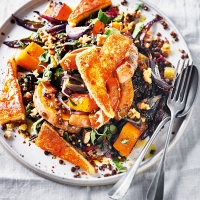 Roast squash & kefalotyri cheese salad with walnuts & honey