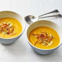 Spiced sweet potato and leek soup with stilton