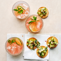Gin paloma cocktails with tostadas