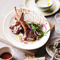 Grilled lamb with aubergine & feta dressing