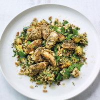 Herbed chicken with freekeh