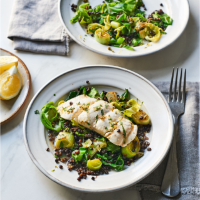 Lemon and tarragon poached haddock with beluga lentils