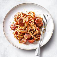 Turkey meatballs with tagliatelle, chilli & tomato