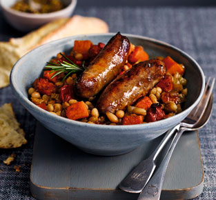 Sticky sausage & bean stew