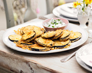 Aubergine fritters with lemon and coriander yoghurt