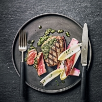 Fillet steak with salsa verde
